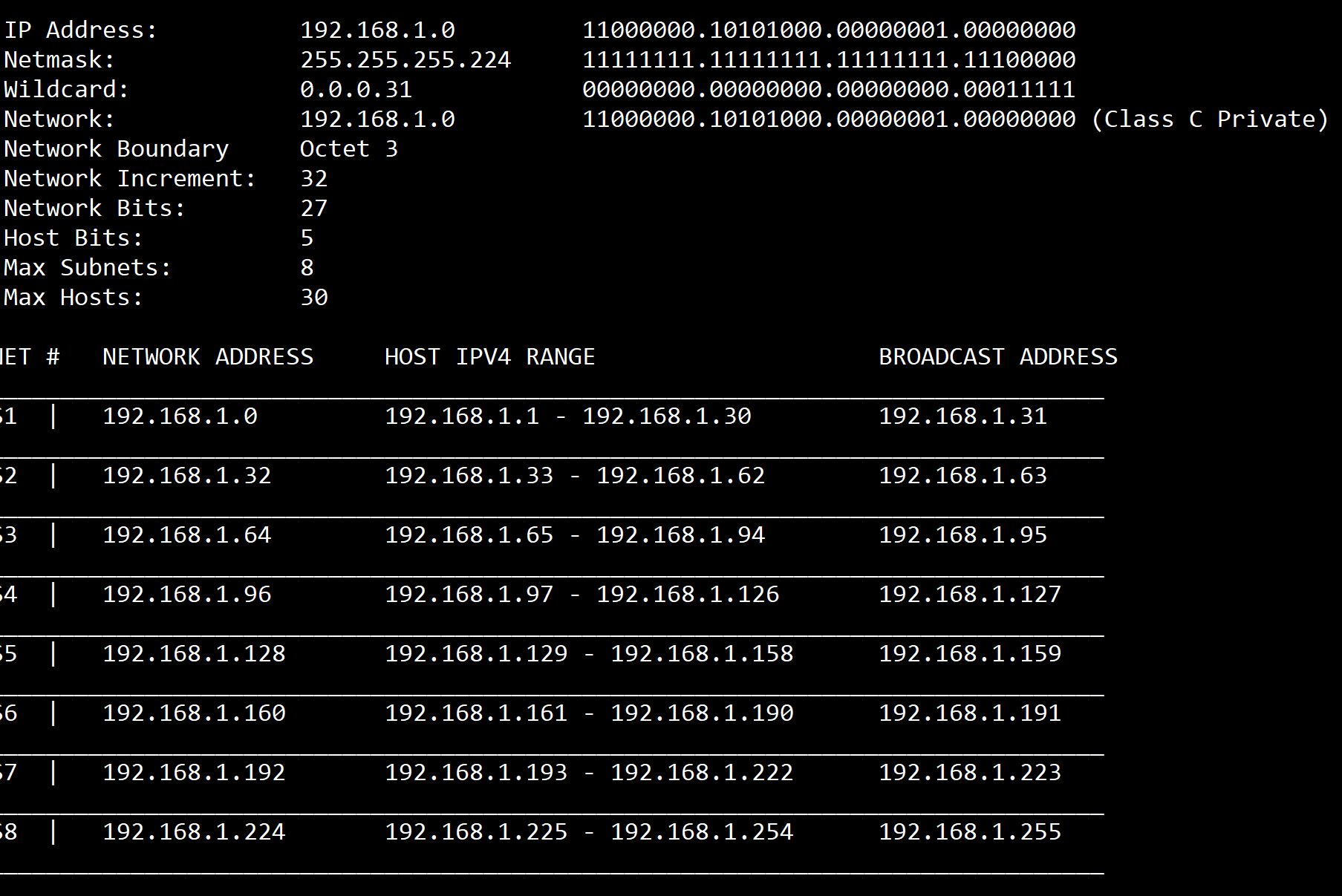 Subnet calculator screenshot